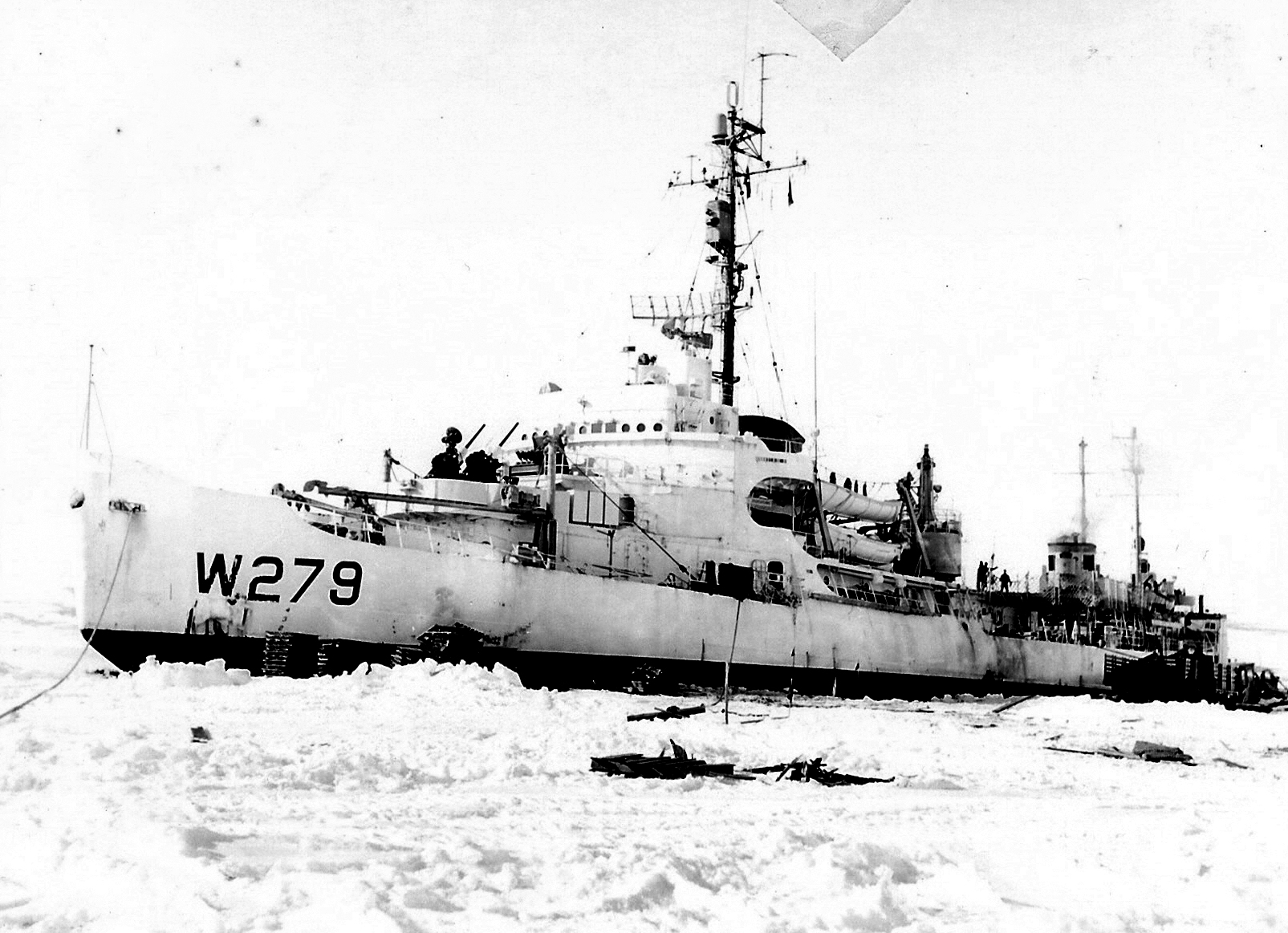 The US Coast Guard icebreaker Eastwind in the ice in1955. Photo from the US Antarctic Program Photo Library.