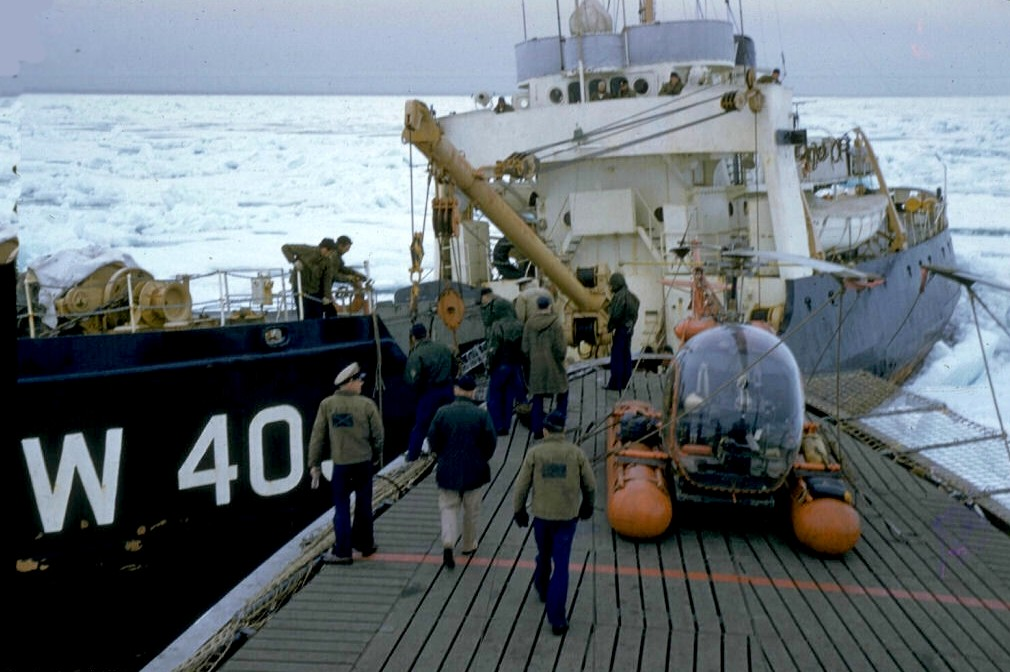 United States Coast Guard Cutter Spar and Bramble in the Northwest Passage. Image provided by John Hagerty, USCGC Spar Museum.